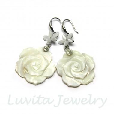 """Auskarai """"White Rose"""""""