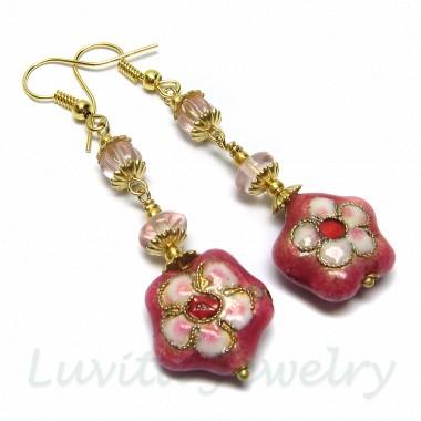 Rausvų Cloisonne gėlyčių auskarai