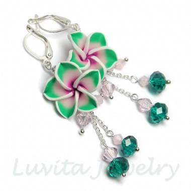"Auskarai ""Hawaii flowers - Sea Green"""
