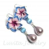 """Auskarai """"Hawaii flowers - Purple"""""""